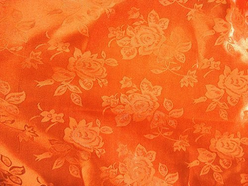 Brocade Jacquard Satin Orange 60 Inch Fabric By the Yard from The Fabric Exchange ®