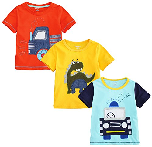 little bitty 3 Piece Pack Boy's Short Sleeve embroidered T-Shirts &Tees