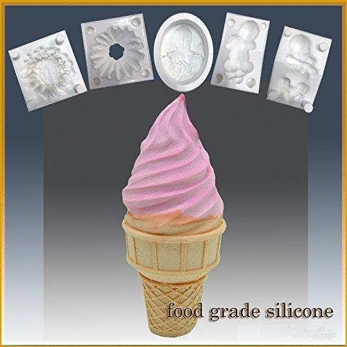 Ice Cream Cone Delight- Silicone Soap/sugar/fondant/chocolate/marzipan 3d Mold ()