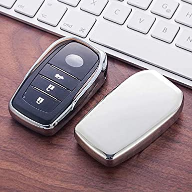 Silver TM 3 4 5 6 Buttons Soft TPU Smart keyless Remote Key Fob case Cover Shell for Toyota Holder Highlander Avalon Crown Land Cruiser Prado Mark X Camry Corolla Reiz RAV4 Royalfox