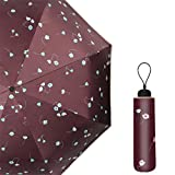 Guoke Sun U Umbrella Uv Female Folding Umbrellas Vinyl Umbrellas Sunny Rain Two, Coffee-Colored