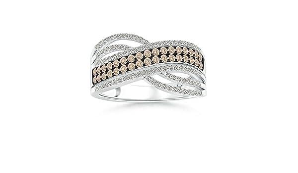Angara Brown Diamond Multi-Row Crossover Ring in Platinum