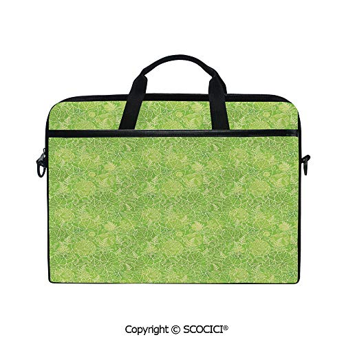 Personalized Laptop Bag 14-15 Inch Messenger Bag Line Art Style Flourish Pattern on Green Tone Backdrop Ornate Victorian Decorative Shoulder Sleeve Case Tablet Briefcase
