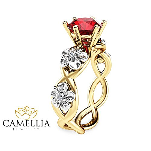 14K Two Tone Gold Ruby Engagement Ring Floral Twist Ring ()