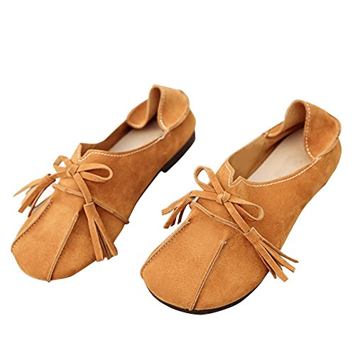 Blivener Womens Comfortable Flat Loafers Soft Leather Shoes Brown 4r6UQU