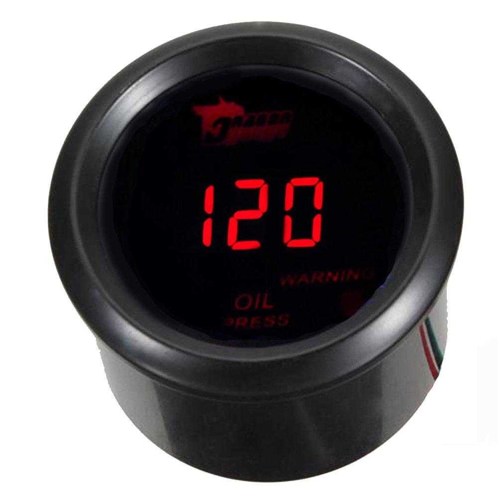 E Support/™ 12V Auto Motore 2 52mm Universale Digitale led rosso leggero Manometro Pressione Turbo Psi Indicatore