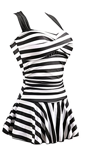 MiYang Women's One Piece Striped Slim Padded Swim Dress Bathing Swimwear Black and White X-Large US 16-18 -