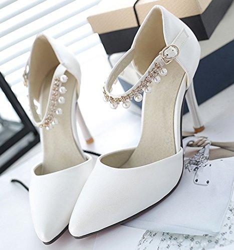 Femme Cheville Mariage Escarpins Blanc Pointue Aisun Chic Bride Coupe Franges dq0gdtTwP