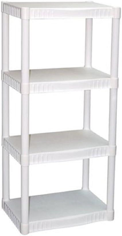"USA White LOT OF 3 Plano 4-Tier Heavy-Duty Plastic Shelves 22/"" X 14/"" X 48/"""