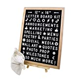 Changeable Felt Letter board 12x16 Home Message Board | Wood Frame Sign | 591 White Letters, Numbers & Emojis | With Easel, Hanging Strips, Clippers & Canvas Bag | Share Words, Quotes & Announcements