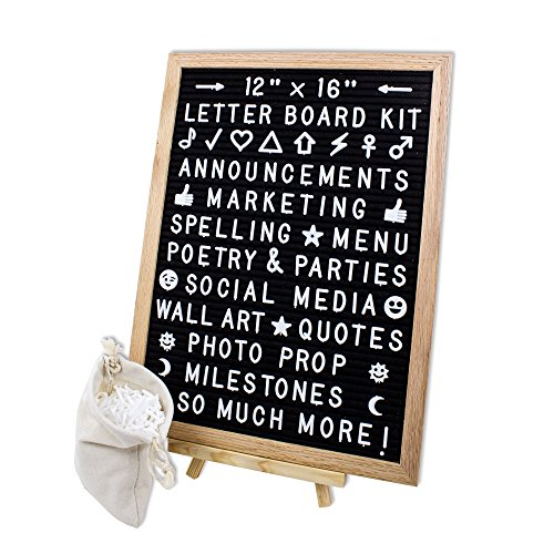 Changeable Felt Letter board 12x16 Home Message Board | Wood Frame Sign | 591 White Letters, Numbers & Emojis | With Easel, Hanging Strips, Clippers & Canvas Bag | Share Words, Quotes & Announcements by Feltwrite (Image #9)