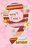 Age 9 Girl Birthday Card - Big Patterned Number, Present & Flowers 7.75' x 5.25'