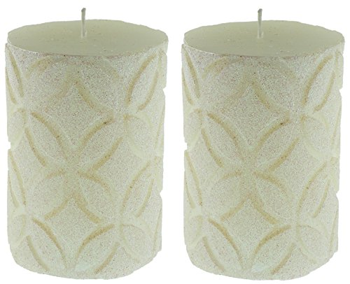 Embossed Pillar Candle (Jay Imports White Diamonds All Around Embossed Finish,3