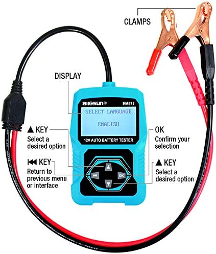 ALLOSUN 12V Automotive Digital Battery Tester 100-2000 CCA Lcd Cranking System Tester Charging System Tester