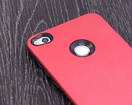 Funda Huawei P8 Lite 2017, MoEvn Doble Capa Suave TPU y Híbrida Rugged PC 2 in 1 Silicona Carcasa Durable Antideslizante Protección Caso Choque Absorción Cubierta Caja Anti-Arañazos Parachoques Tapa p Rojo