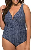 Caribbean Sand Plus Size V Under Wire One Piece Tank Style Swimsuit With Control Power Mesh Lining Navy Blue/Wht 22