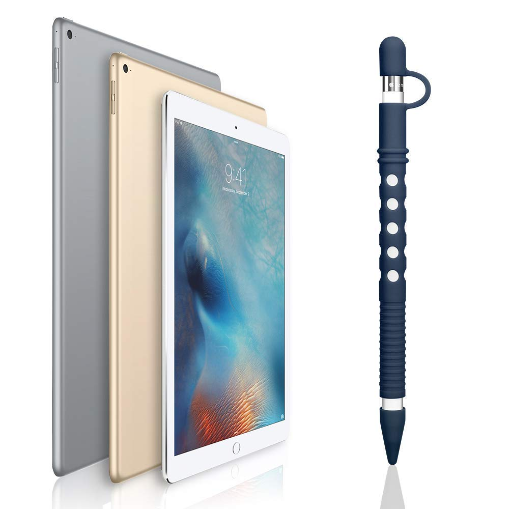 Custodia in Silicone per Apple Pencil iPad Matita Case Accessorio Grip Holder Supporto Cover Protettiva con Tappo Connettore Ricarica e 2 Punte Copertura per iPad Pro 9.7 Blu Scuro 12.9 Pen 10.5