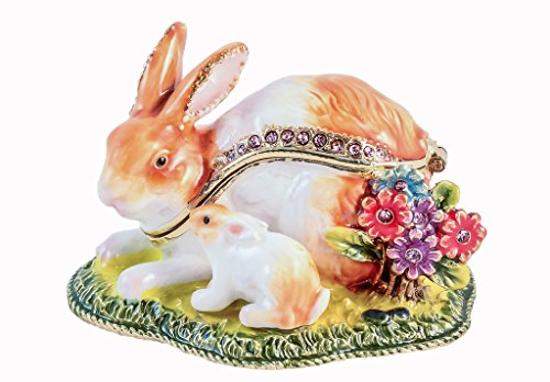 Bunny with Baby on Grass Trinket Box, Topaz Swarovski Crystal, Hand Painted White & Brown Enamel Over Pewter, Inside of Box with Lovely Enamel, L 2.50 x H 1.75 x W 2.00 Baby White Trinket Box