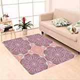 Nalahome Custom carpet Arabesque Round Patterns in Oriental Islamic Eastern Persian Religious Motif Artprint Pink Teal area rugs for Living Dining Room Bedroom Hallway Office Carpet (2' X 10')