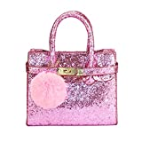 CMK Trendy Kids Girls Crossbody Shoulder Handbag Shinny Pink Glitter with Fur Ball Poms My First Purse for Toddlers (80013_Glitter pink)
