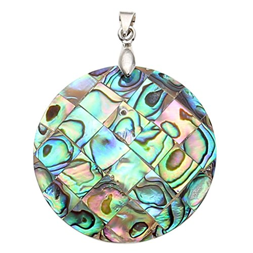 Top Plaza Natural Seashell Abalone Shell Pendant Necklace For Jewelry Making(Round)
