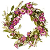 front door decorating ideas National Tree 20 Inch Floral Wreath with Purple Daisy and Lavender Flowers (GAF30-20WDLP)
