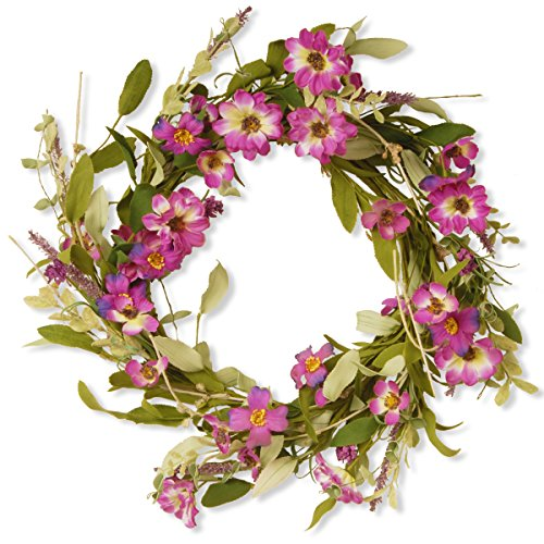 National Tree 20 Inch Floral Wreath with Purple Daisy and Lavender Flowers (GAF30-20WDLP)