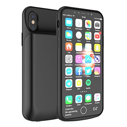 - iPhone X/iPhone Xs Battery Case, Moonmini 6000mAh Rechargeable Portable External Battery Charger Pack Extend Power Bank Backup Charging Case Ultra Slim Protective Phone Case for iPhone X/XS (Black)