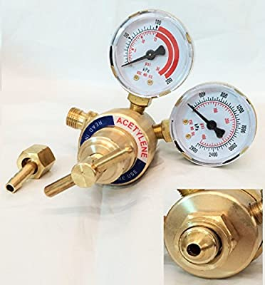 WennoW REAR MOUNT ACETYLENE GAS WELDING WELDER BRASS REGULATOR PRESSURE GAUGE VICTOR