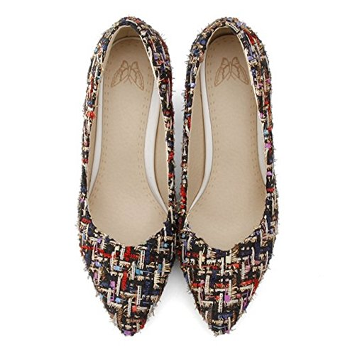TAOFFEN Women's Fashion Block Heel Pumps Court Shoes Black PUGHJsdAr