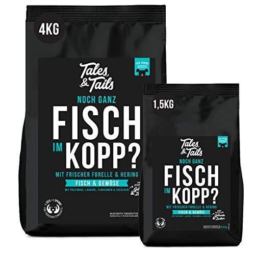 Tales&Tails Getreidefreies Trockenfutter für Hunde, 4 kg – Forelle und Hering