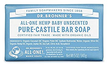 Dr. Bronner s Pure-Castile Magic Bar Soap, Unscented, 6 Count