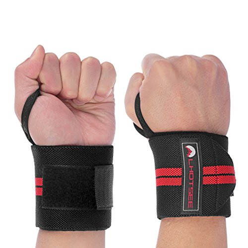 LHOTSEE Premium Wrist Straps,Professional Weight Lifting Training Wrist Straps Support Braces Wraps For Men and Women (Red) by LHOTSEE
