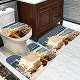 CqmzpdiC 3Pcs Ocean/Stone Waterproof Polyester Bathroom Floor Mat Toilet Lid Cover Set Digital Printing Anti-Skid Durable Mildew Resistant Comfortable Anti-Slip Practical Decorate Floor 7#