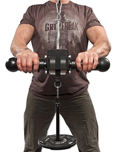 GRIP FREAK Fat Grip Wrist Roller with Weight Plate Holder by GRIP FREAK Hanging Wrist Roller