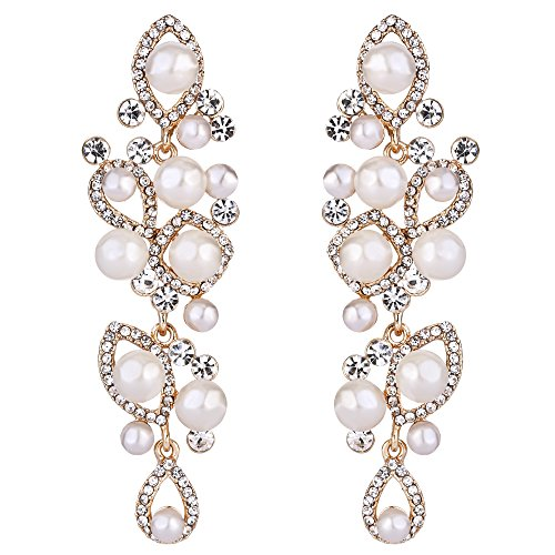 BriLove Women's Vintaged Style Marquise Shape Simulated Pearl Teardrop Hollow Chandelier Dangle Earrings Gold-Tone Clear (Pearl White Chandelier)