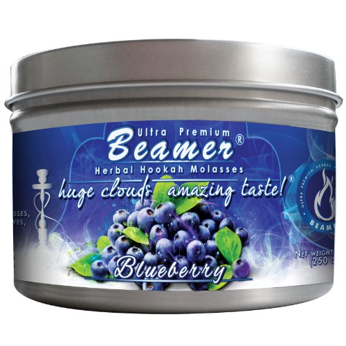 Blueberry Beamer® Ultra Premium Hookah Molasses 250 gram tin. Huge Clouds, Amazing Taste!® 100 % Tobacco, Nicotine & Tar Free but more taste than tobacco! Compares to Hookah Tobacco at a fraction of the price! GREAT TASTE, LOTS OF SMOKE & SMELLS GREAT!!! Proudly made in the USA!