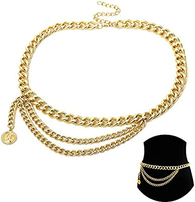 Jurxy Multilayer Alloy Waist Chain Body Chain for Women Golden Waist Belt Pendant Belly Chain Adjustable Body Harness for Jeans Dresses Gold Style 5