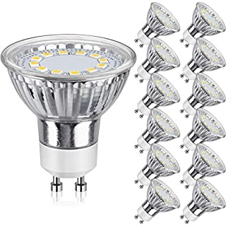 GU10 LED Bulbs 50W Halogen Equivalent, 3000K Warm White Track Light Bulbs, 3.5W 350Lumens, CRI>85, 120 Degree Beam Angle Bulbs for Spotlight, Recessed Light, Flood Light, Non-Dimmable, Pack of 12