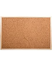 DESK TECH Small Cork Bulletin Board with Wooden Frame, 18 x 12 inches, Beige