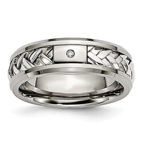 Sonia Jewels Size 9.5 - Titanium/Sterling Silver Inlay Polished 1pt. Diamond 7mm Wedding Band Diamond Silver Bezel Bands
