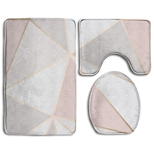 HOMESTORES Perfect Gifts - Rose Gold Geometric Mirror Pattern Thicken Skidproof Toilet Seat U Shaped Cover Bath Mat Lid Cover by HOMESTORES