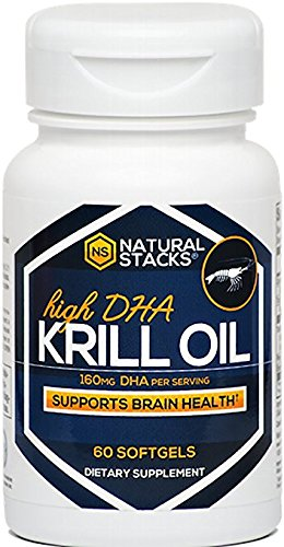 Natural Stacks Cold Pressed Krill Oil - One bottle contains a 30-day supply - Promotes Heart Health, Relieves Joint Pain, and Improves Brain Function