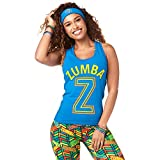Zumba Soft Graphic Print Dance Fitness Tanks Workout Racerback Tops for Women, True Blue, XS