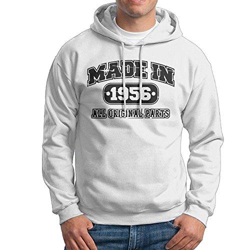 FDLB Mens 60th Birthday T Shirt Made In 1956 Vintage Cross-country Fashion Hoodie Hooded Sweatshirt S White