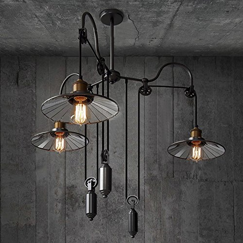Susuo lignting country style pulley ceiling pendent light adjustable susuo lignting country style pulley ceiling pendent light adjustable 3 heads retro wire industrial chandeliers retractable hanging lighting aloadofball Image collections
