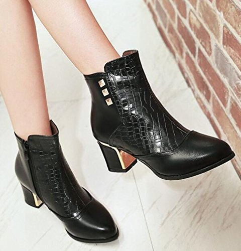 IDIFU Womens Sexy Studded Side Zipper Pointed Toe Ankle Boots Mid Chunky Heels Black VD2HM9qaTd