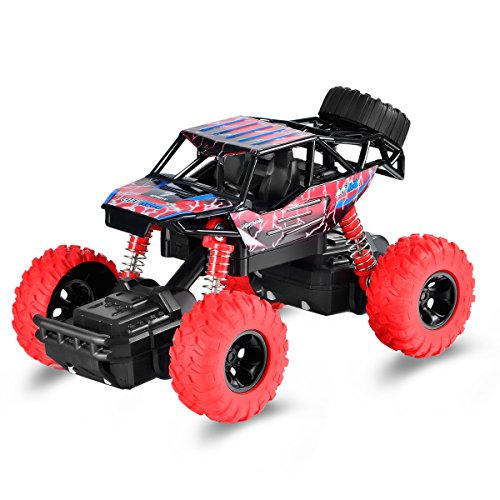 AMTOP Pull Back Monster Trucks with 4 Independent Shock Springs, 4 Wheel Drive Friction Powered Pull Back and Go Rock Crawler Car Toy for Toddler Boys Girl Baby (1 Piece, Red)