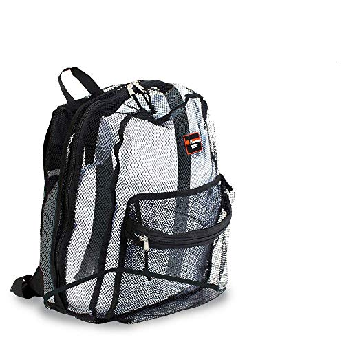 BPV Heavy Duty Transparent Mesh Backpack, See Through College Student Backpack with Padded Shoulder Straps for Commuting, Swimming, Travel, Beach, Outdoor Sports 17 inches (Black)