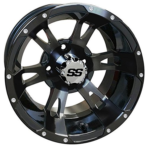 12'' RUCKUS Gloss BLACK Wheels and 215/35-12'' DOT Low Profile Tires Combo - Set of 4 (METRIC LUGS 12MMx1.25 (Yamaha, Star)) by Golf Cart Tire Supply (Image #3)